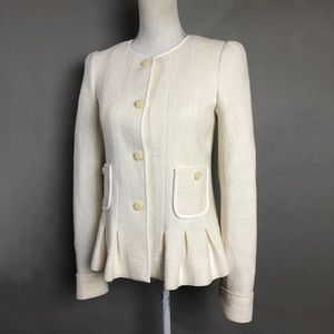 Anthropologie Wool Jacket Ivory Peplum Pleated